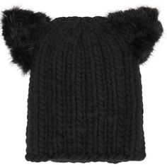87d459a33da Womens Beanies EUGENIA KIM Felix Black Cat Ears Chunky-knit Beanie ( 185) ❤  liked on Polyvore featuring accessories