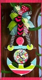 Hand painted door hanger www.facebook.com/lotzadotzbynatalie ~atypical anchor pattern with initial. Any color combo~