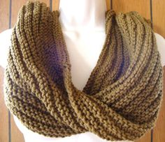 Knit Infinity Scarf Cowl Chunky Brown by CherylsKnits on Etsy, $45.00