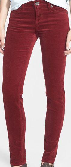 Maroon corduroy skinny jeans