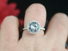 White Sapphire & Diamond Halo Engagement ring Round by AlexisHolly