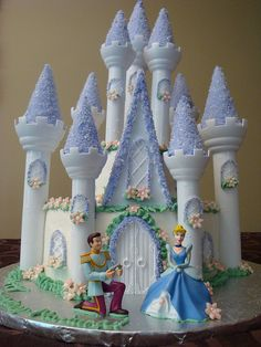 Cinderella and Prince Disney Wedding Cake Princess Theme Birthday, Cinderella Birthday, Cinderella Castle, Cinderella Cakes, Princess Party, Disney Castle Cake, Cinderella Princess, Fairytale Castle, Princess Castle
