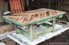 pallet wood coffee table check out beachbumlivin facebook to win, chalk paint, diy, how to, painted furniture, pallet, repurposing upcycling, woodworking projects, Pallet wood coffee table with a base made from a futon