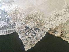 A Pretty Point De Gaze Lace Wedding Handkerchief circa 1900