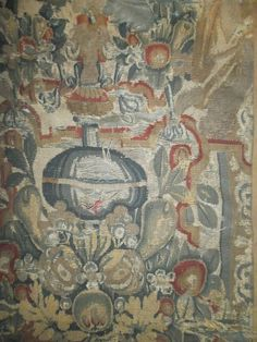17th century French tapestry. Large panel , natural colours , wool and from luciacollectables on Ruby Lane
