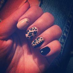 nails,leopard,print,black