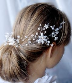 Wonderfully opulent Bohemian Bridal Headpiece. Beautiful Hair Jewelry for your Wedding. Handwired to a sturdy, yet flexible wireframe.  You can choose to have it made to sit on the left or the right side. Depending on your plans for your hairstyle. It could also be styled as a