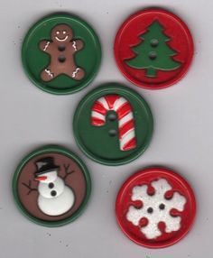 Jesse James Dress It Up Buttons-Christmas-Gingerbread Man/Snowman-Pack of 5 #JesseJames