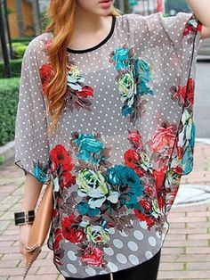 Women's O-neck Falbala Sleeve Dotted Roses Printed Loose Chiffon Casual T-Shirt on buytrends.com
