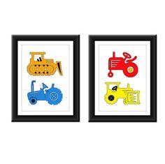 Bulldozer Tractor Boys Room Art Prints - Set of Two 5 x 7 on Etsy, $14.00