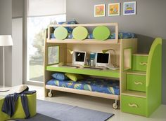 Unique Bunk Beds Design In Green For Kids Loft Bed Made From Wooden Material Finished In Modern Decoration Ideas For Inspiration