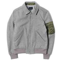 Wings + Horns Melton Wool Flight Jacket Grey