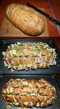 The ideal dinner: stuffed farmhouse bread for the whole f .- Das ideale Abendessen: Gefülltes Bauernbrot für die ganze Familie Hier geht es The ideal dinner: Filled farmhouse bread for the whole family Here it goes … - Vegetable Snacks, Good Food, Yummy Food, Party Finger Foods, Cooking Recipes, Healthy Recipes, Bread Recipes, Cooking Food, Keto Recipes