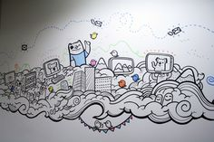 Geo Law is an illustrator in Sheffield, specialising in doodling office mural art works and graphic prints Mural Painting, Mural Art, Wall Murals, Wall Art, Wall Paintings, Wall Paint Patterns, Painting Patterns, Office Wall Paints, Doodle Wall