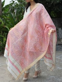Ivory-Pink Maheshwari Cotton Silk Dupatta