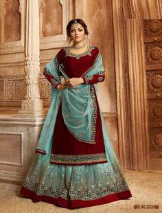 Turquoise Blue Two Tone Dual Bottom Lehenga/Pant Kurti Set is especially crafted for showcasing glamorous style and ethnic elegance with its unique embroidered combination of zari and resham thread work annotated perfectly on straight cut satin georgette Western Suits, Western Dresses, Indian Dresses, Indian Outfits, Lehenga Suit, Blue Lehenga, Party Wear Lehenga, Indian Lehenga, Lehenga Saree