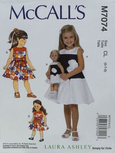 "McCall's 7074 PATTERN for Girls sz (6-8) & 18"" Girl Doll Clothes AMERICAN SELLER #McCalls"