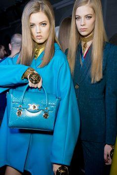 The Versace Signature bag backstage at the Versace Womens Fall Winter 14-15 Fashion show. #VersaceSignatureBag