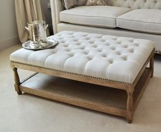 Our original Petit Royale Ottoman Coffee Table is upholstered in our gorgeous Belgian oatmeal natural linen, and can be used...