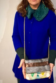 mini shoulder bag Foldover clutch leather and by vquadroitaly