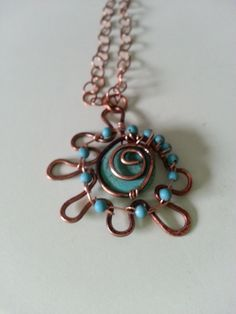 turquoise and copper necklace Butterfly Effect Designs www.wic.com/csharon/butterflyeffectdesigns