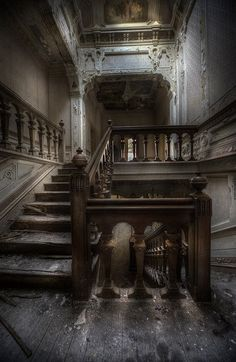 """Beautiful staircase in abandoned building. Photo by Andre Govia. From the Facebook Community """"Abandoned Asylums""""."""