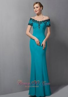 Popular Gorgeous Teal Mermaid Mother Of The Bride Dress Off The Shoulder Appliques Floor-length Chiffon