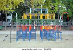 Colorful jungle gym in a playground - stock photo