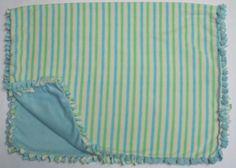 Cozy Yellow/Green/Aqua striped fleece tie by BriersBlankets