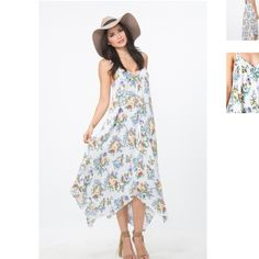 """The Handkerchief Maxi Dress Modeled on a size Small. Model's profile: height 5'9"""", bust 34"""", waist 24"""", hips 36"""" CONTENT & CARE 100% Rayon (Self) Made in the USA Line Dry Color: White Floral Harper Trends Dresses Maxi"""