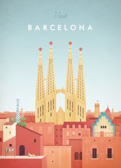 Barcelona vintage travel poster with the Sagrada Familia. Original Barcelona vintage travel poster by Henry Rivers. Buy a premium art print! Retro Poster, Poster S, Vintage Travel Posters, Poster Prints, Art Print, Map Posters, Poster City, Visit Barcelona, Barcelona Travel