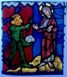<<La primera tentación de Cristo frente al Diablo>> Vitral de la catedral de Saint-Pierre de Troyes , hacia 1170-1180. Londres, Victoria and Albert Museum.