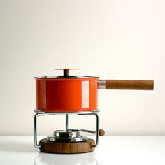 Enamel And Teak Fondue Set, $239, now featured on Fab.
