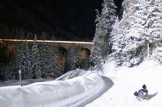 Nachtschlitteln Preda - Bergün - Rhätische Bahn RhB