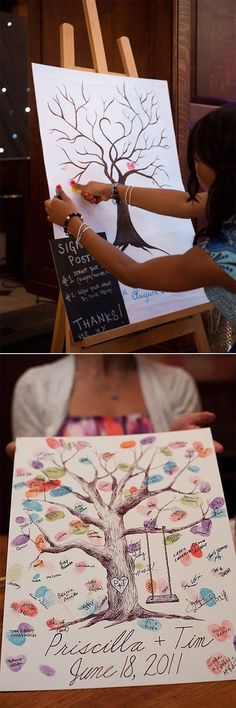 thumb print tree wedding guest book ideas diy guest book 20 Must-See Non-Traditional Wedding Guest Book Alternatives Wedding Tree Guest Book, Tree Wedding, Fall Wedding, Diy Wedding, Rustic Wedding, Wedding Book, Wedding Gifts, Wedding Favors, Wedding Souvenir
