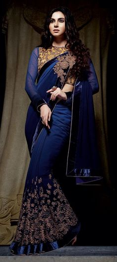 190071 Blue color family Embroidered Sarees, Party Wear Sarees in Bemberg fabric with Machine Embroidery, Thread work with matching unstitched blouse. Saree Designs Party Wear, Saree Blouse Designs, Collection 2017, Saree Collection, Indian Dresses, Indian Outfits, Indian Clothes, Look Fashion, Indian Fashion