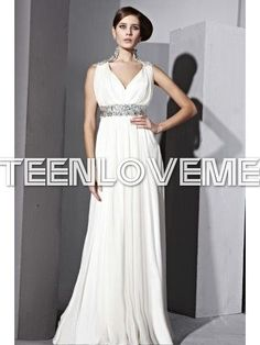 Ivory Formal Dresses V-neck Beaded Belt Sleeveless Lowest Price - Evening Dresses - Special Occasions
