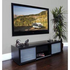"PLATEAU SR-V 65 B Wood 65"" TV Stand, Black Oak finish, Black Frame Doors"