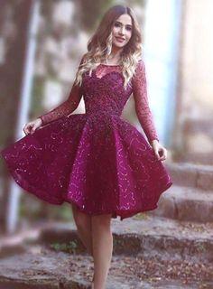 Homecoming Dress, Purple Homecoming Dress, Long Sleeve Homecoming #Short Homecoming Dress #HomecomingDresses #Short PromDresses #Short CocktailDresses #HomecomingDresses