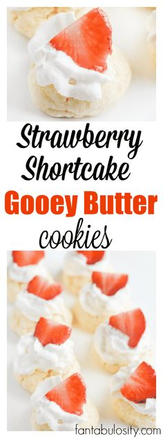 Strawberry Shortcake Gooey Butter Cookies Recipe: A gooey butter cookie that is topped with whipped cream and stawberries to combine TWO favorite desserts! Gooey Butter Cookies, Butter Cookies Recipe, Butter Pie, Yummy Cookies, Yummy Treats, Sweet Treats, Pan Cookies, Homemade Desserts, Easy Desserts