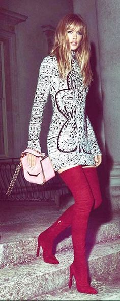 Would wear everything in this look right now. Doutzen Kroes /Emilio Pucci Campaign Fall 2013...those red boots..luv~