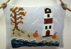 Autumn Lighthouse Cross Stitched Hanging by luvinstitchin4u, $13.95