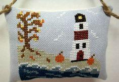 Autumn Lighthouse Cross Stitched Hanging by luvinstitchin4u, $13.95