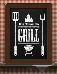 """Kitchen Chalkboard-Summer-Outdoor Food-Meal-Recipes-Beer-Burgers-Grill-BBQ-Roast-Steak-Barbecue-It's Time to Grill-Print 8.5x11"""" No.1344"""