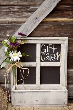 old window turned into gift card box!