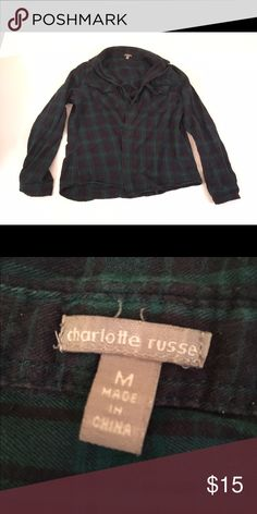Button down flannel Classic plaid button down flannel only worn a handful of times Charlotte Russe Tops Button Down Shirts