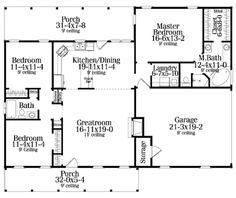 Southern Style House Plan - 3 Beds 2 Baths 1492 Sq/Ft Plan #406-132 Main Floor Plan - Houseplans.com