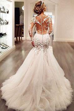 Custom Wedding Dresses #CustomWeddingDresses, Wedding Dresses 2018 #WeddingDresses2018, Lace Wedding Dresses #LaceWeddingDresses, Wedding Dresses With Appliques #WeddingDressesWithAppliques, Long Sleeves Wedding Dresses #LongSleevesWeddingDresses, Ivory Wedding Dresses #IvoryWeddingDresses