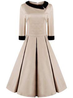 da059ebd018 ReoRia Women s 50s Style 3 4 Sleeve Rockabilly Pinup Vintage Dress  (Premium)