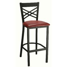 """Cross Back Metal Bar Stool - Textured Black Finish, Vinyl Seat. Availability: In Stock. Minimum order of 8. *This item is part of our Fall Bar Stool Extravaganza Sale!* Ships in 5-7 Days! This black metal bar stool is a beautiful addition for your restaurant at an affordable price. Cross Back design. Metal bar stool frame available in textured black only. Standard seat is upholstered with imported black or burgundy vinyl. Dimensions: 42""""H x 17""""W x 19"""" D."""